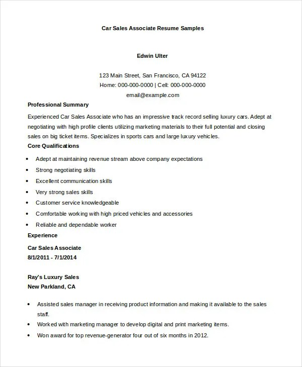 car sales associate resumes - Onwebioinnovate