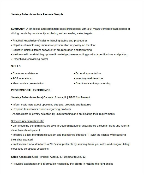 7+ Sales Associate Resume Templates - PDF, DOC Free  Premium
