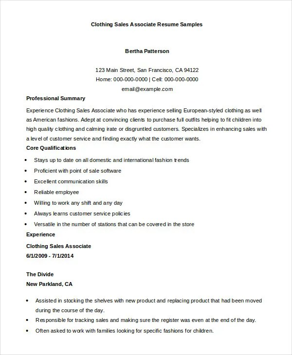 sales associate resume 7 free sample example format free clothing store