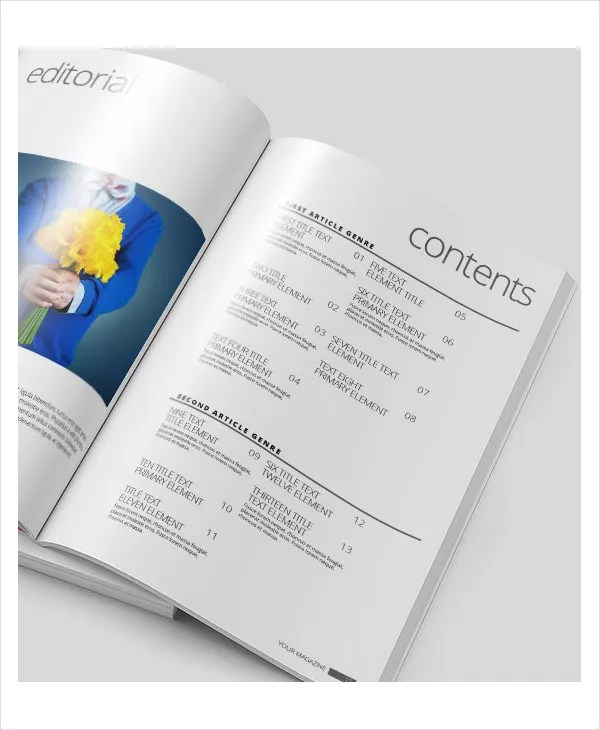 Table Of Contents Template - 10+ Free Word, PDF, PSD Documents