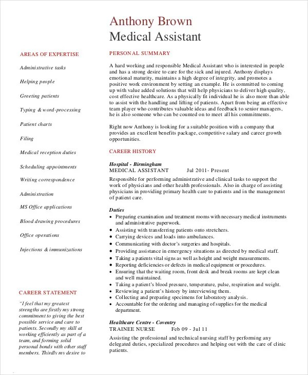 10+ Medical Assistant Resume Templates - PDF, DOC Free  Premium - best medical assistant resume