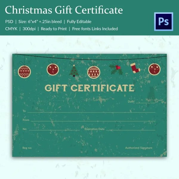 17+ Christmas Gift Certificate Templates - Printable PSD Format - personalized gift certificates template free