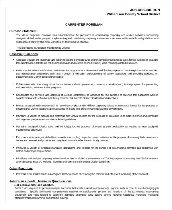 Carpenter Job Description Sample Production Manager Job Description