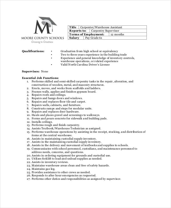 Carpenter Job Description - Free Sample, Example, Format Free - carpenter job description