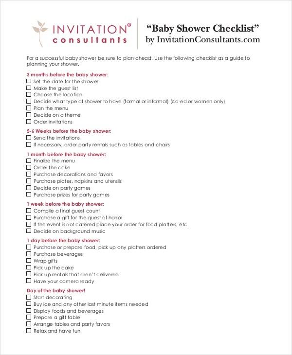 Baby Shower Checklist - 5+ Free PDF, PSD Documents Download Free - sample baby shower checklist
