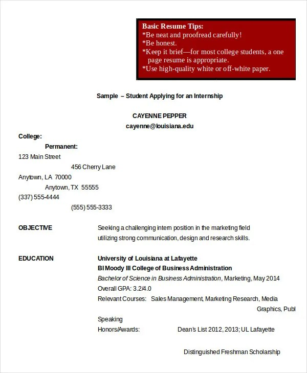 College Student Resume - 7+ Free Word, PDF Documents Download - college student resume for internship