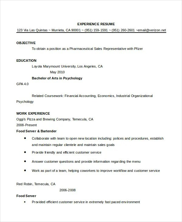 Bartender Resume - 8+ Free Sample, Example, Format Free  Premium - I O Psychologist Sample Resume