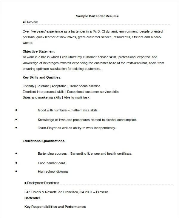 Bartender Resume - 8+ Free Sample, Example, Format Free  Premium - resume bartender