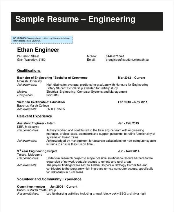 9+ Student Resume Templates - PDF, DOC Free  Premium Templates - sample engineering student resume