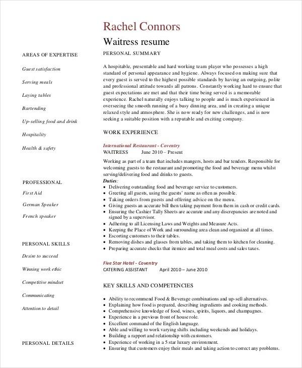 Bartender Resume - 8+ Free Sample, Example, Format Free  Premium - bar tender resume