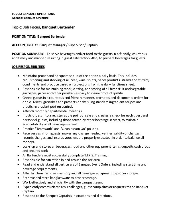 Bartender Resume - 8+ Free Sample, Example, Format Free  Premium - how to write a bartender resume