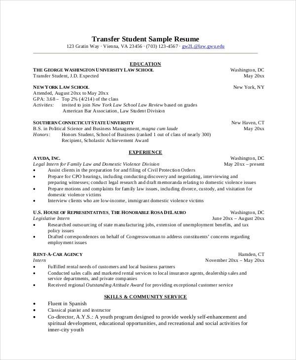 9+ Student Resume Templates - PDF, DOC Free  Premium Templates