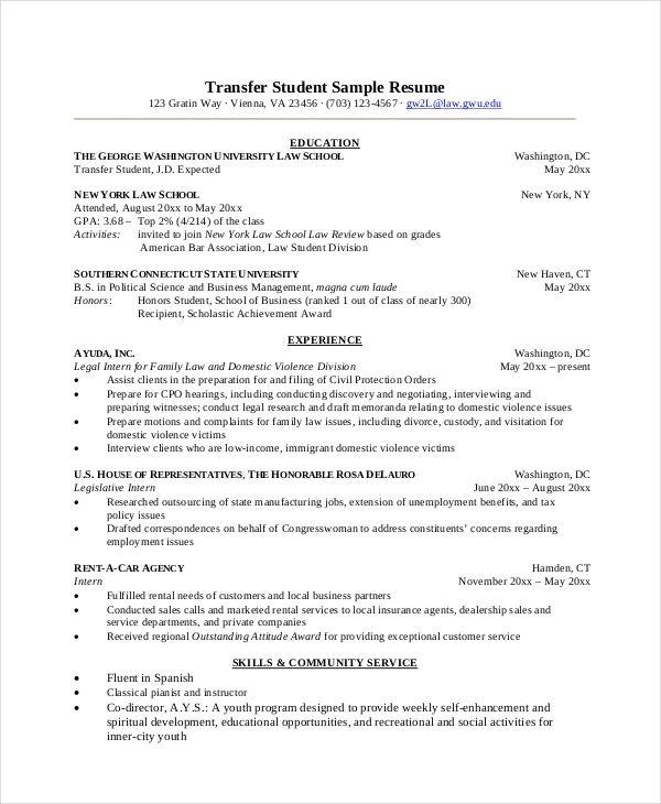 transfer student resumes