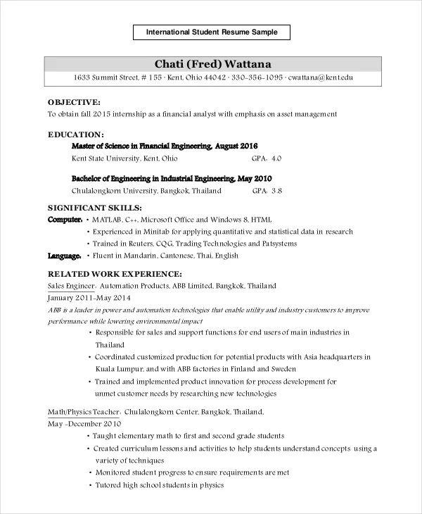 sample resume international student