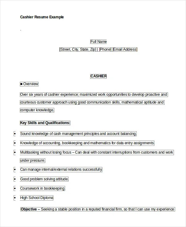6+ Cashier Resume Templates - PDF, DOC Free  Premium Templates - example of cashier resume