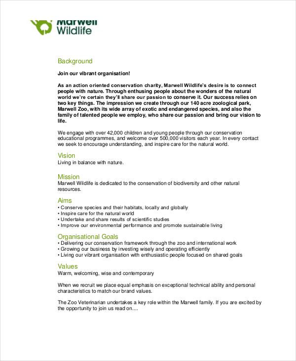 10+ Veterinarian Job Description Templates - PDF, DOC Free - zoo worker sample resume