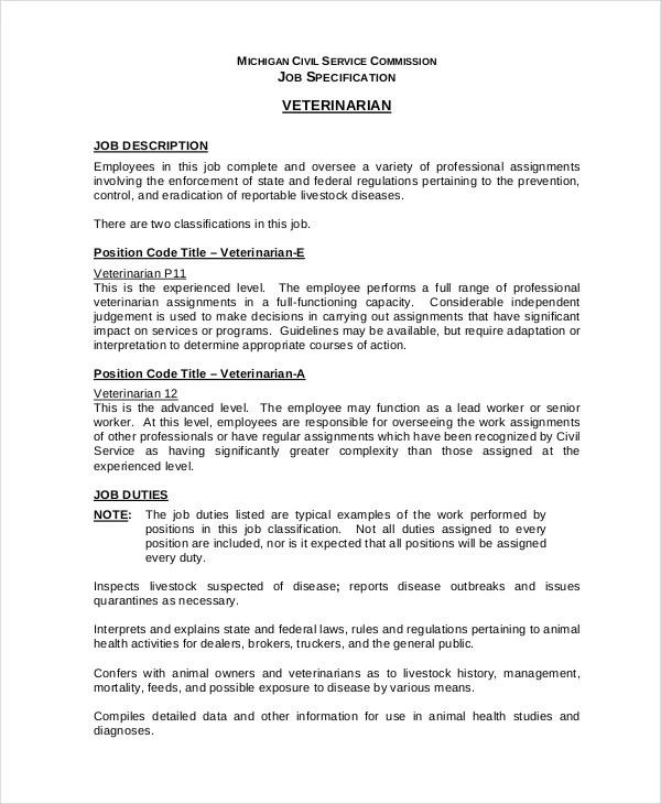Veterinarian Job Description - 10+ Free Word, PDF Documents - veterinarian job description