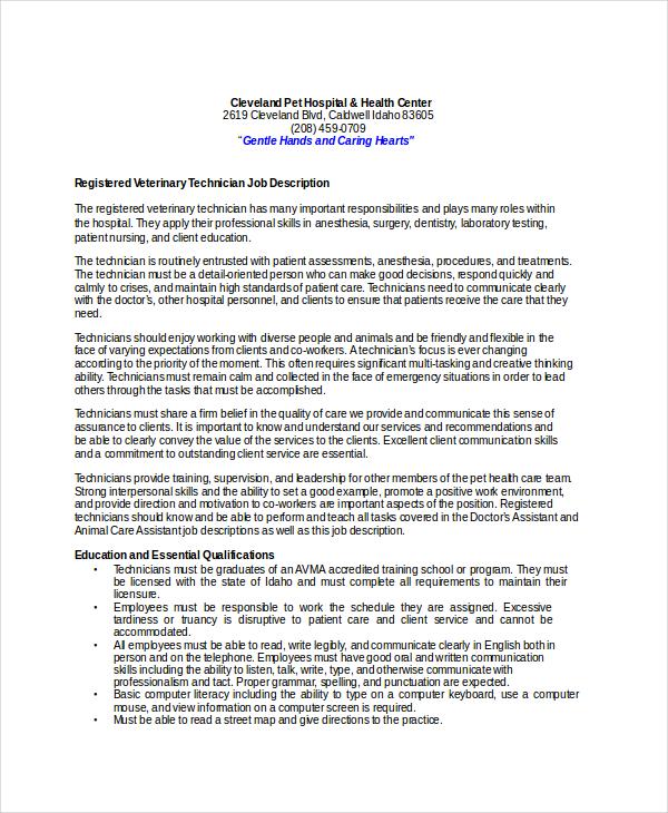10+ Veterinarian Job Description Templates - PDF, DOC Free