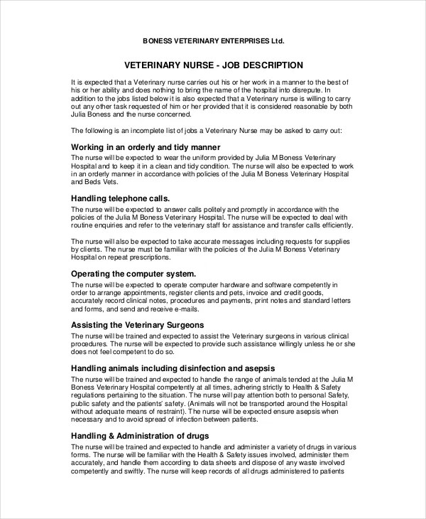 10+ Veterinarian Job Description Templates - PDF, DOC Free