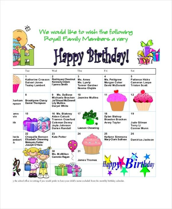 Birthday Calendar - 7+ Free Word, PDF, PSD Documents Download Free