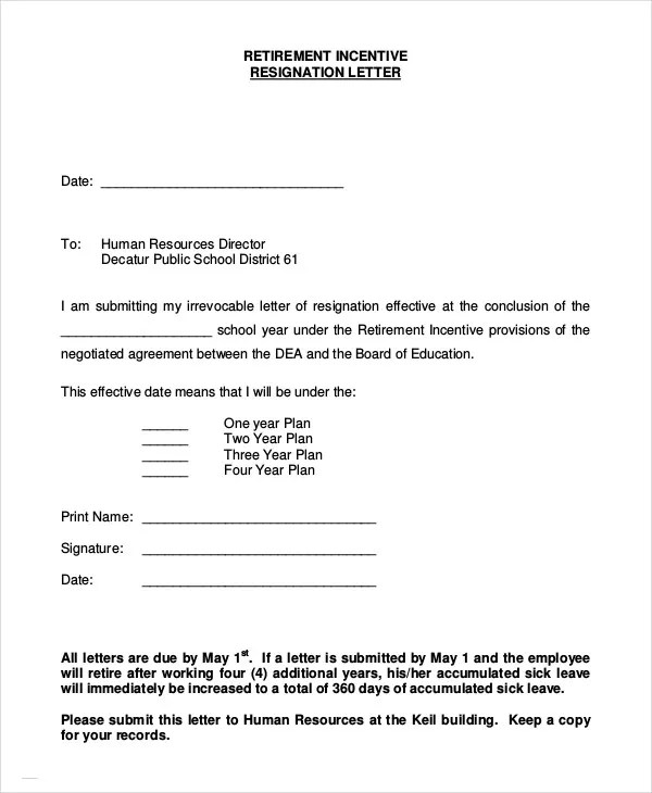 Retirement Letter - 7+ Free PDF Documents Dpwnload Free  Premium - how to write a letter of resignation due to retirement