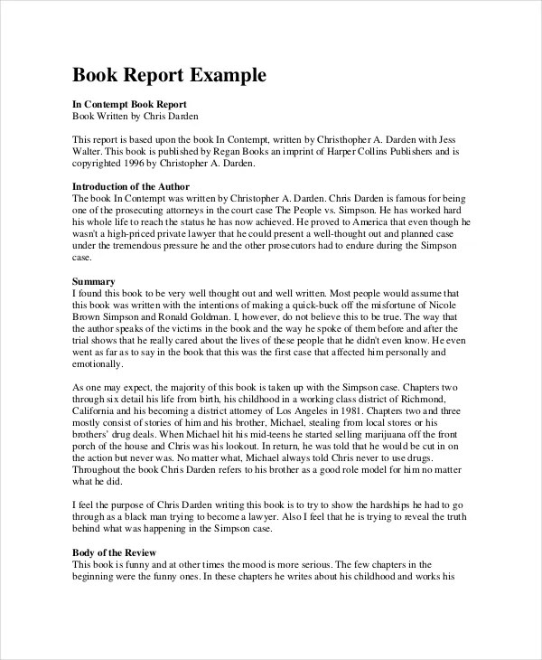 Sample Book Report  NodeCvresumePaasproviderCom