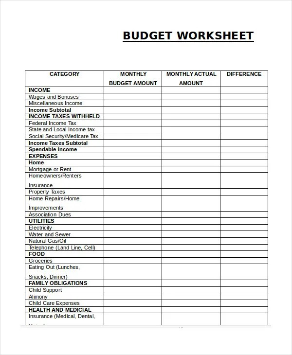 Printable Budget Worksheet Template - 12+ Free Word, Excel, PDF