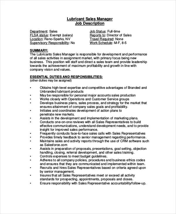 sales staff description - Romeolandinez - sales director job description