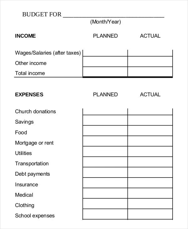 family budget planner template printable