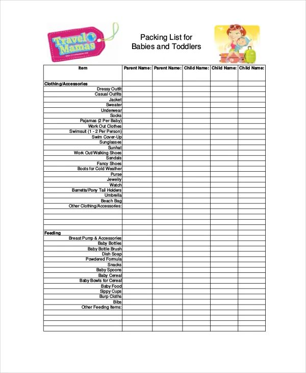 packing list for vacation template