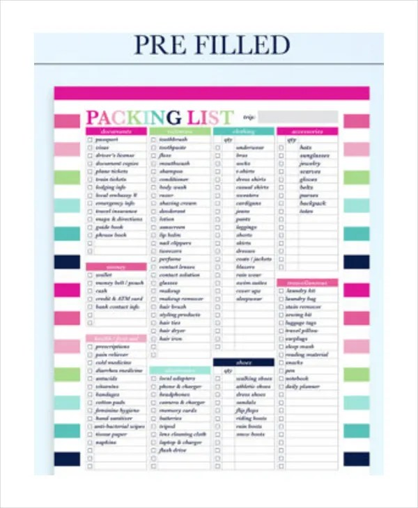 Travel Packing List - 10+ Free Word, PDF, PSD Documents Download - Packing Template
