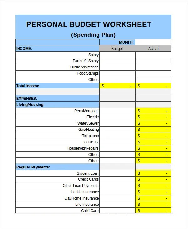Free Personal Budget Template - 9+ Free Excel, PDF Documents - weekly personal budget template