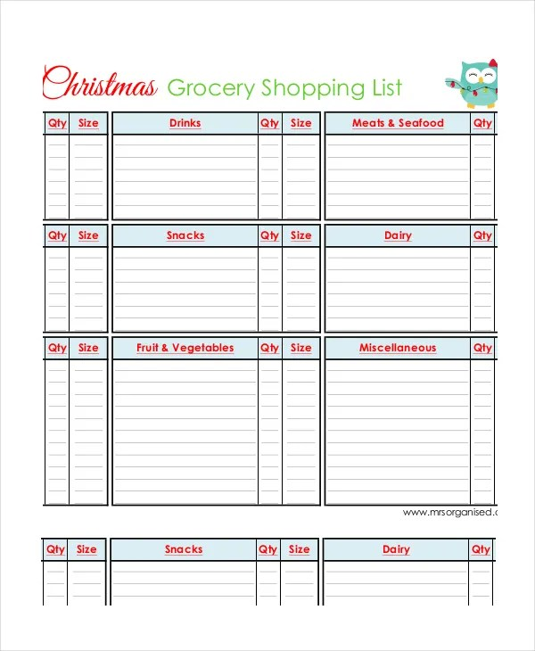 Grocery Shopping List - 10+ Free PDF, PSD Documents Download - printable shopping list