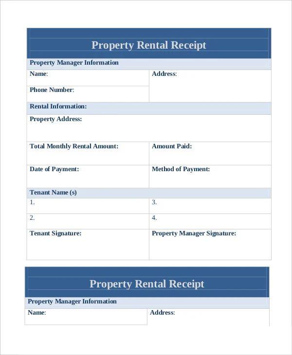 monthly rent receipt