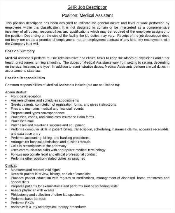 Job Description Of The Administrative Assistant | Military