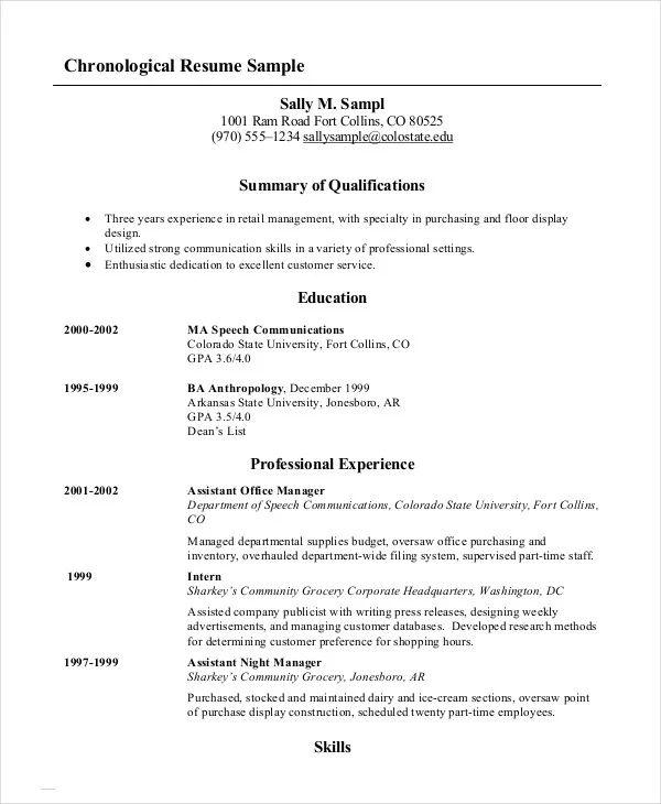 chronological order resume sample