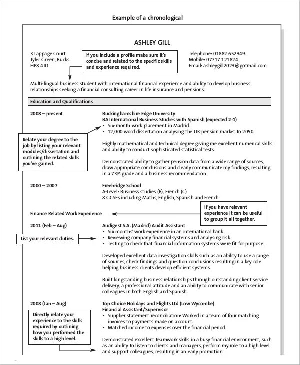 10+ Chronological Resume Templates - PDF, DOC Free  Premium Templates