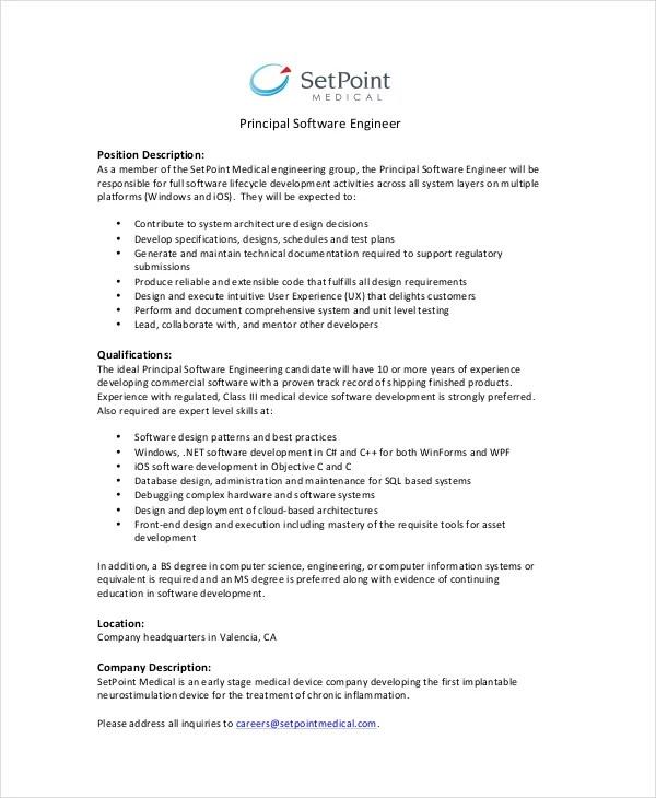 11+ Software Engineer Job Description Templates - PDF, DOC Free