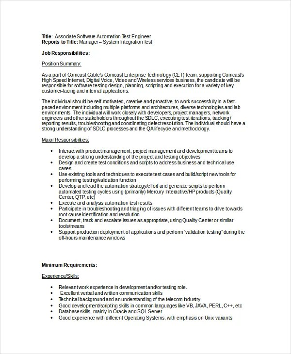 11+ Software Engineer Job Description Templates - PDF, DOC Free - network engineer job description