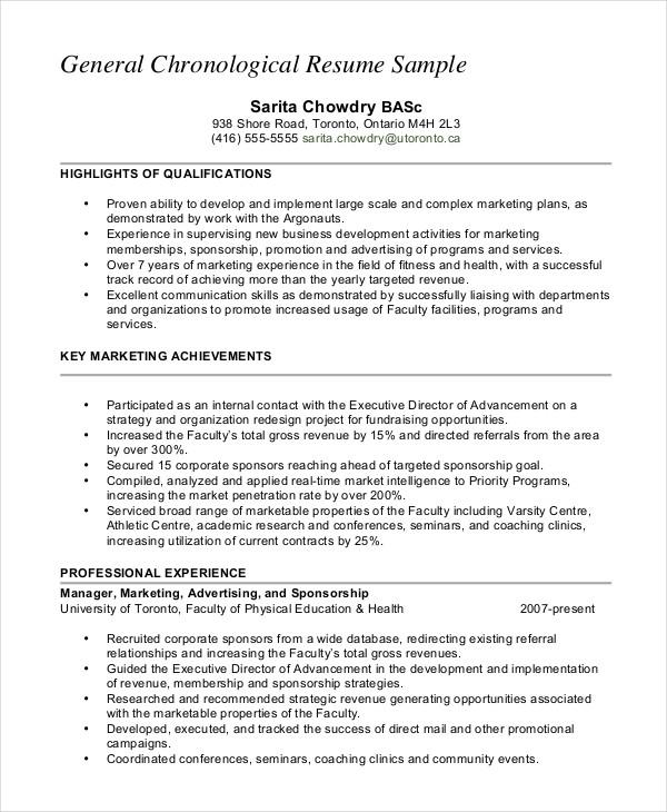 resume in chronological order