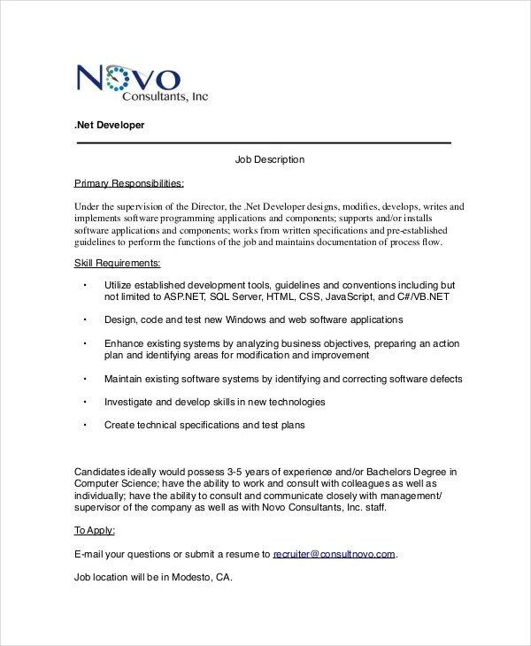 Software Developer Job Description Senior Software Engineer - job description templates
