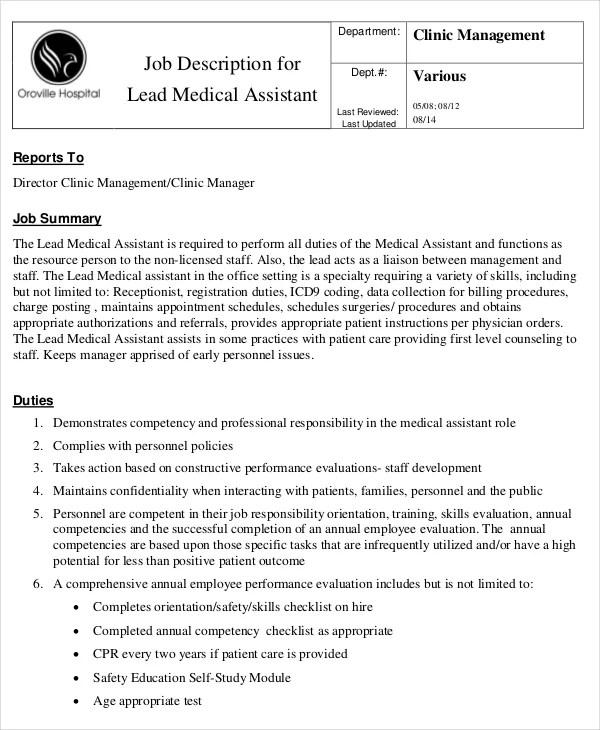 10+ Medical Assistant Job Description Templates - PDF, DOC Free - medical assistant job description