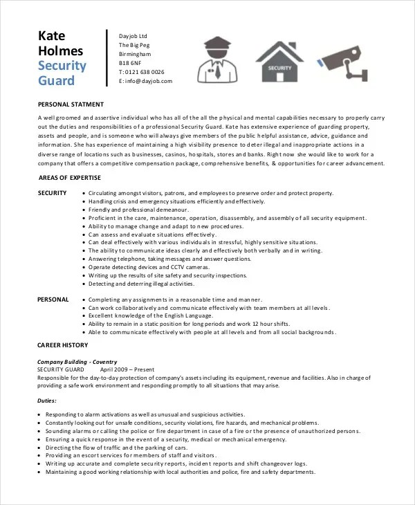 Security Guard Resume - 5+ Free Sample, Example, Format Free - casino security officer sample resume