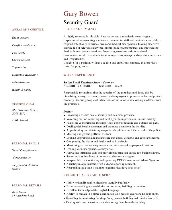 Security Guard Resume - 5+ Free Sample, Example, Format Free