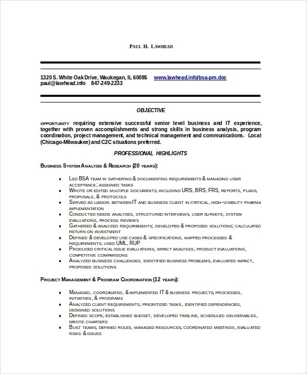 8+ Business Analyst Resumes - Free Sample, Example, Format Free - Business Analyst Resumes Examples