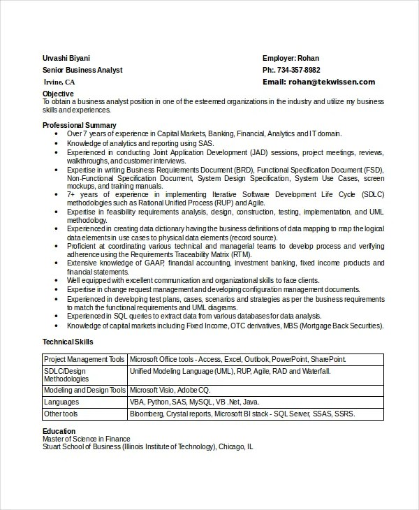 8+ Business Analyst Resumes - Free Sample, Example, Format Free - Agile Business Analyst Resume