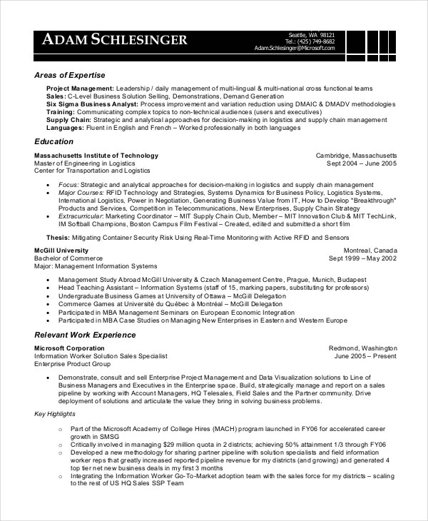 8+ Business Analyst Resumes - Free Sample, Example, Format Free - sample business resume