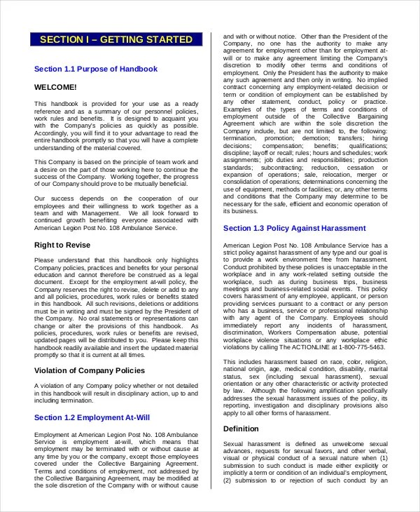 Employee Handbook Template - 12+ Free Sample, Example, Format - sample employee manual template