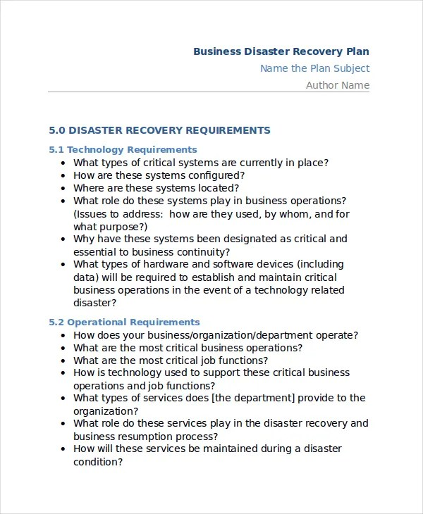 11+ Disaster Recovery Plan Templates - Free Sample, Example - disaster recovery plan template