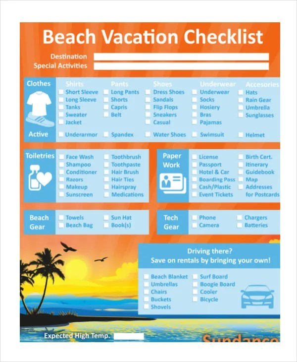 Vacation Checklist Template - 12+ Free PDF Documents Downlaod Free